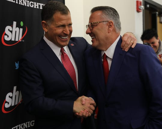 Greg Schiano and Chair of the Committee on Intercollegiate Athletics, Greg Brown following the press conference where Schiano was introduced for his second tour as Rutgers head football coach on December 4, 2019 at the Hale Center on Rutgers campus in Piscataway, NJ.
