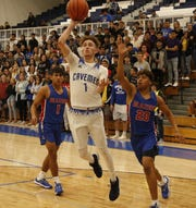 Carlsbad's Josh Sillas gets a running jumpshot against El Paso Americas on Dec. 3, 2019. Sillas finished with 24 points and Carlsbad won, 59-51.