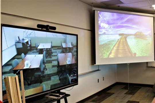 One of the adult education classrooms  with live stream facilities to broadcast classes to rural communities at the newly opened 30th Street Education Center in Farmington on Dec. 3, 2019.