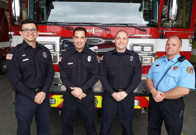 Lyon Township Fire Department personnel recently promoted to rank of full time firefighter, from left: Doug Moebs, Chad Scime, Thomas Arnold, and promoted to Captain - Nate Sturos. Not pictured: Captain David Haven and Firefighter Alan Hamilton.