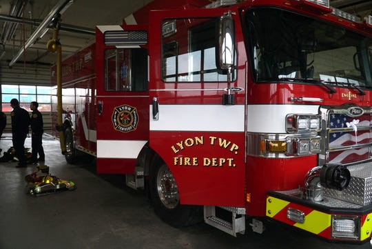 Lyon Township Fire Deparment engine #1 at the Grand River station.