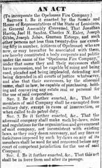 Official announcement in the Opelousas Courier on June 11, 1853 concerning the incorporation of the Opelousas Fire Company.