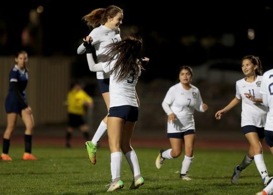 La Quinta's Isabella Fakehany celebrates her second goal of the game against Desert Hot Springs in Desert Hot Springs, Calif., on December 3, 2019.