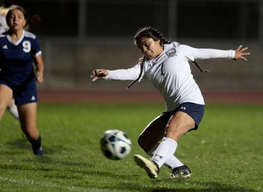 La Quinta's Rosalva Sanchez takes a shot at the goal during the game against Desert Hot Springs in Desert Hot Springs, Calif., on December 3, 2019.