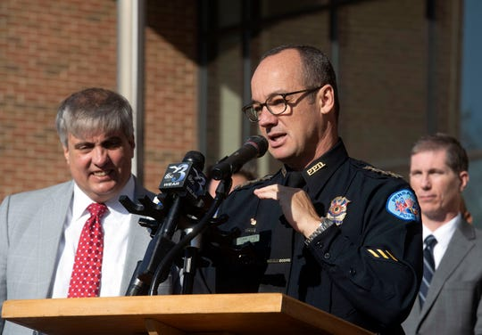 Pensacola Police Department Chief Tommi Lyter provides an overview of the joint task force on gun violence during a press conference Wednesday at Pensacola City Hall.