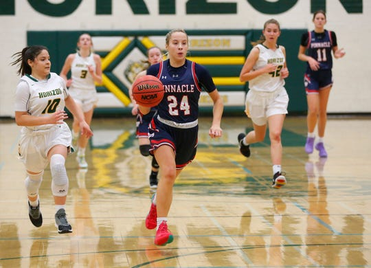 Pinnacle's Ally Stedman (24) leads a fast break against Horizon during the first half in Scottsdale December 3, 2019.