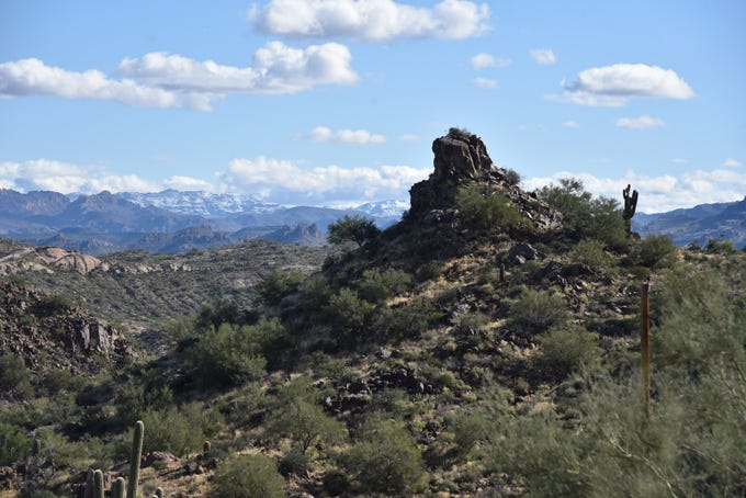The snow-covered Superstition Mountains as seen from Bulldog Canyon in the Goldfield Mountains