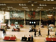 A picture of how Paul Coze's mural looked in Terminal 2 during the 1970s.