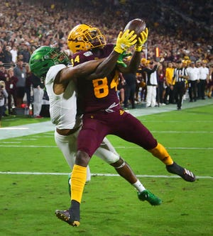 Arizona State Sun Devils wide receiver Frank Darby (84) makes a touchdown catch against Oregon Ducks cornerback Deommodore Lenoir (6) in the second half during a game on Nov. 23, 2019, in Tempe.