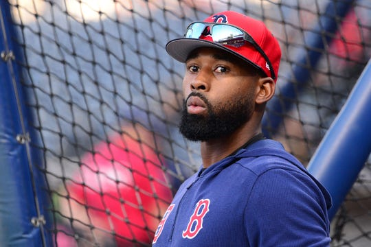 Could Boston Red Sox center fielder Jackie Bradley Jr. (19) be traded to the Arizona Diamondbacks?