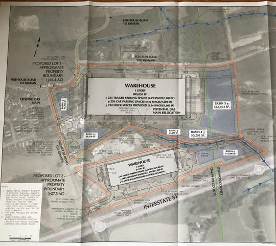 Proposed plans for a warehouse project in East Hanover Township.