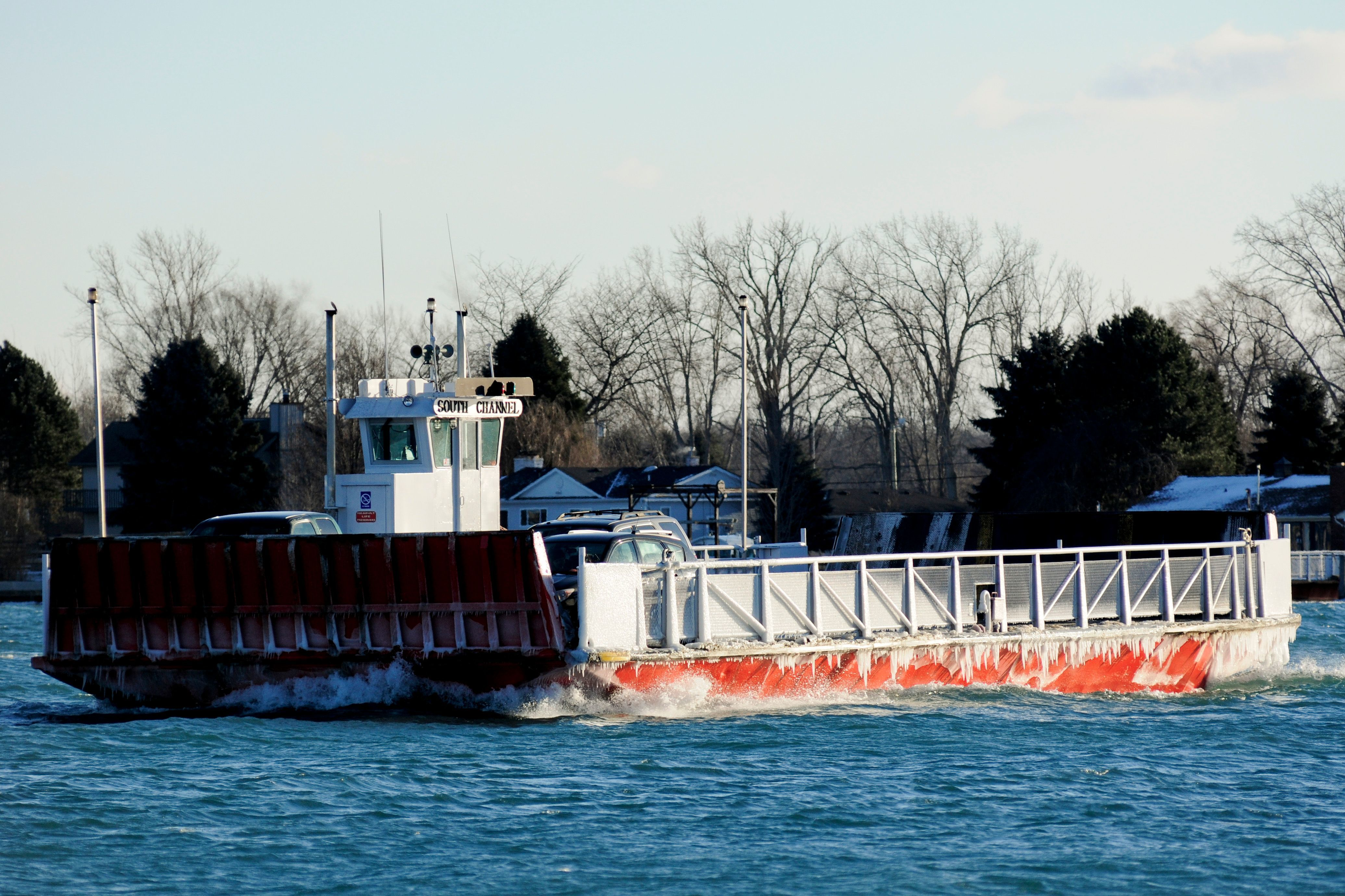 Champion's Auto Ferry travels on the North Channel between Clay Township and Harsens Island.
