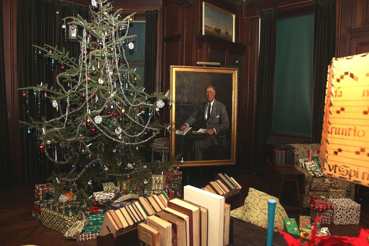 The Home of Franklin D. Roosevelt National Historic Site is decorated for the holiday season.
