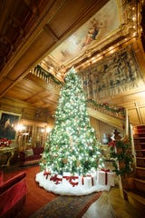 Mills Mansion, Staatsburgh State Historic Site, is decorated for the holidays. Staatsburgh was the Gilded Age country home of financer and philanthropist Ogden Mills and his wife, Ruth Livingston Mills, a prominent figure in New York Society. Their stately home, overlooking the Hudson River in the hamlet of Staatsburg, was redesigned and expanded to 79 rooms in 1895 by the famous architect Stanford White.