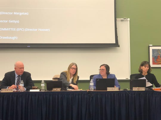 West York Area school board members at a reorganization meeting and work session Tuesday, Dec. 3, 2019. Left to right, Superintendent Todd Davies, board President Suzanne Smith, Assistant Superintendent Erin Holman, board Vice President Jeanne Herman.