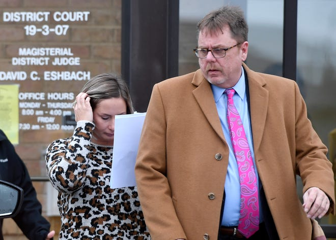 Lauren Ray Thomas leaves District Judge David Eshbach's office following her arraignment on Wednesday, Dec. 4, 2019. Accompanying her is her defense attorney, Rick Robinson. (John A. Pavoncello photo)
