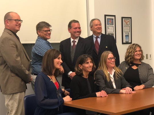 West York Area school board on Tuesday, Dec. 3, 2019. Top row, left to right: Douglas Hoover, Donald Carl, Todd Gettys, Lynn Kohler. Bottom row, left to right: Courtney Dennis, Jeanne Herman, Suzanne Smith, Brandy Shope.