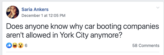 Screen shot of a post inquiring about booting within York from the Fixing York FB page on Dec. 1, 2019.