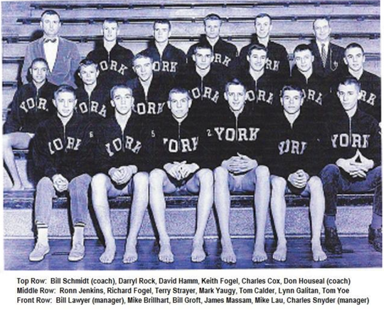 Ronn Jenkins pictured with the William Penn High School swim and diving team. Jenkins is the first one on the left in the second row.