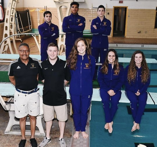Ronn Jenkins pictured with his diving team at West Chester University