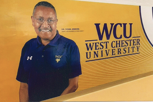 Ronn Jenkins pictured on a wall at West Chester University.