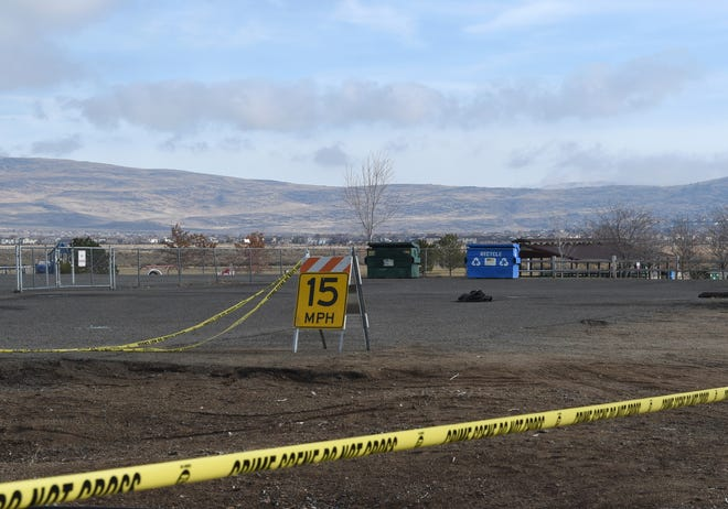 The parking lot to the Spanish Springs Skate Park is taped off on Dec. 3, 2019, following a fatal shooting that occurred Monday afternoon at the Lazy 5 Regional Park.