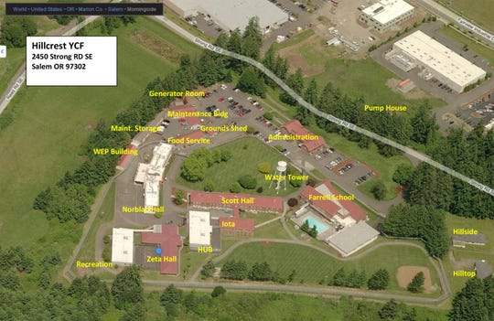 An aerial view of the former Hillcrest Youth Correctional Facility property in south Salem.