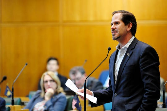 Oregon Republican Rep. Knute Buehler speaks in the House chamber during a special legislative session in Salem, Ore. A leading Republican in Oregon announced Tuesday, Dec. 3, 2019, he will dump campaign contributions from Gordon Sondland after sexual misconduct allegations against the Portland businessman-turned-diplomat surfaced last week.