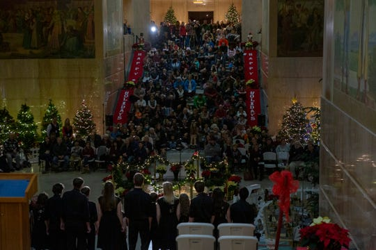 Sprague High School's jazz group Framework performs during the Grand Tree Lighting Celebration at the Oregon State Capitol on Dec. 3.