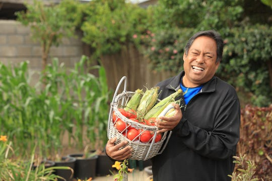 Natividad patient Gilbert Cachola pictured with a fresh basket of vegetables. Healthy diet is one of the most powerful management tools against diabetes.