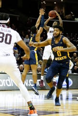 Missouri State senior Keandre Cook hits a three-pointer with 27.1 left on the clock giving the Bears a two-point lead over the Murray State Racers at JQH Arena on Tuesday, Dec. 3, 2019.