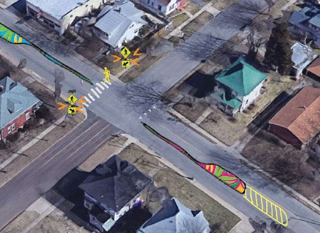 A drawing of improvements to slow down traffic along Grant Avenue near Calhoun Street.