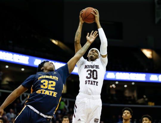Missouri State's Tulio Da Silva rebounds a missed free throw with only seconds left on the clock to secure with Bears win over the Murray State Racers at JQH Arena on Tuesday, Dec. 3, 2019.