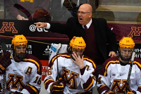 Minnesota head coach Bob Motzko directs his team during the third period of an NCAA college hockey game against Minnesota-Duluth in Minneapolis on Sunday, Oct. 7, 2018.