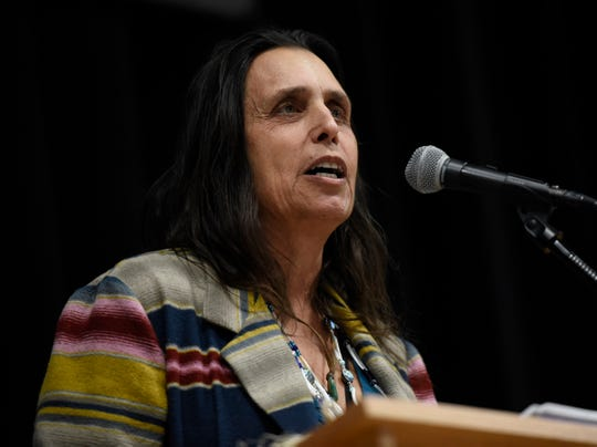 Hemp grower and environmental activist Winona LaDuke talks about the renaissance of fiber hemp at the Minnesota Hemp Conference and Expo on Tuesday, Dec. 3, 2019, at River's Edge Convention Center in St. Cloud.