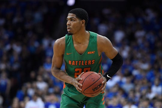 Florida A&M guard Brendon Myles (20) looks on during the first half of an NCAA college basketball game against Seton Hall, Saturday, Nov. 23, 2019 in Newark, N.J. (AP Photo/Sarah Stier)