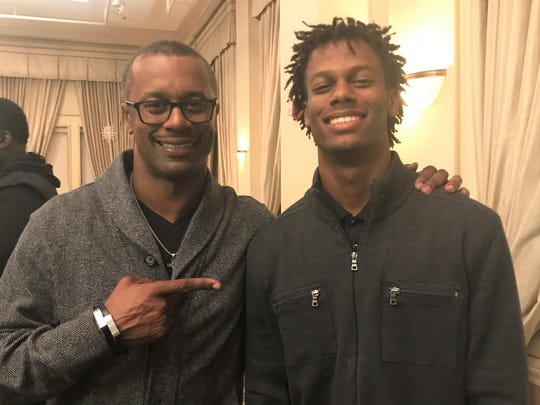 Former Florida State head coach Willie Taggart celebrates with his son Willie Taggart, Jr. after winning the Gene Cox MVP at the Tallahassee Quarterback Club jamboree on Tuesday, Dec. 3, 2019.