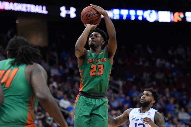Florida A&M forward Bryce Moragne (23) attempts a basket during the first half of an NCAA college basketball game against Seton Hall, Saturday, Nov. 23, 2019 in Newark, N.J. (AP Photo/Sarah Stier)