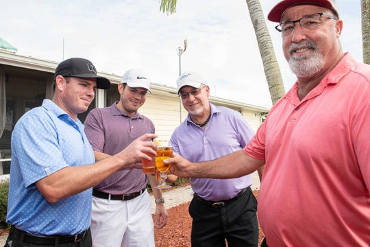 John and Scott Peewee, left, Senator Muskee and Jimmy Freitas at Fairwinds Golf Club in Fort Pierce for the Treasure Coast Seminole Club Charity Golf Tournament.