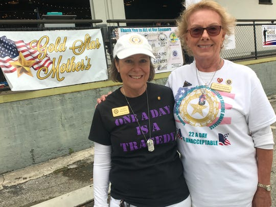 American Gold Star Mothers National Second Vice President Jo Ann Maitland, left, with Michelle Dale, president of the Indian River County chapter, at the Nov. 16, 2019, Walk-A-Thon for Military Suicide Awareness.