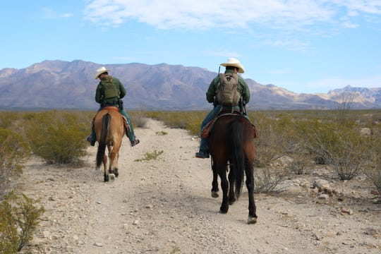 U.S. Border Patrol agents on horseback search for undocumented migrants in West Texas.