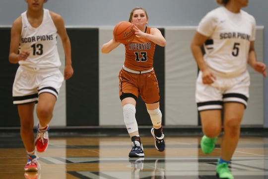Riverside's Charlize Bustillos during the game against Horizon Tuesday, Dec. 3, at Horizon High School.