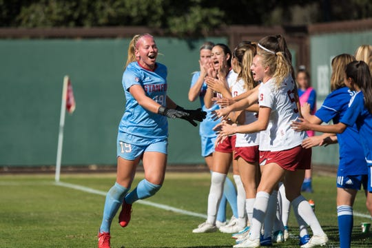 Freshman goalie Katie Meyer, a Newbury Park High graduate, has helped the No. 1 Stanford University women's soccer team reach the NCAA Division I College Cup this weekend in San Jose.