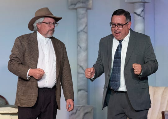 Keith Thomas, left, and Charlie Ramos rehearse for Encore Theatre's production of Beverly Hillbillies on Tuesday, December 3, 2019. Performances begin Friday, Dec. 6.