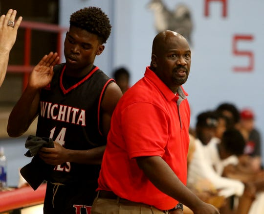 Wichita Falls High head basketball coach Jonathan Wagner on the sideline in the game against Hirschi Tuesday, Dec. 3, 2019, at Hirschi.