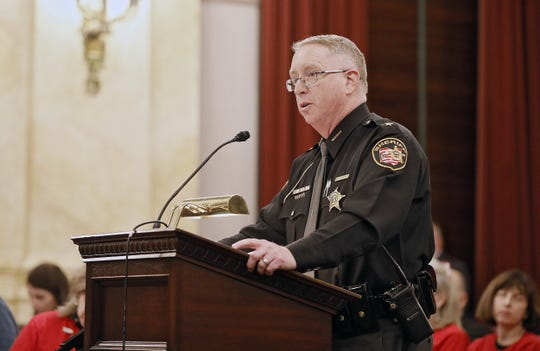 Sheriff Mike Simpson of the Preble County Sheriff's Office speaks about Senate Bill 221 during a oversight and reform committee hearing at the Ohio statehouse on Dec. 3, 2019.