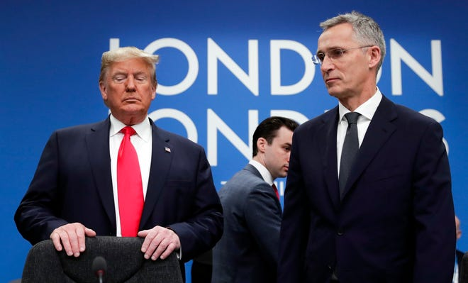 President Donald Trump, left, and Nato Secretary General Jens Stoltenberg during a NATO meeting in London, on Dec. 4, 2019.