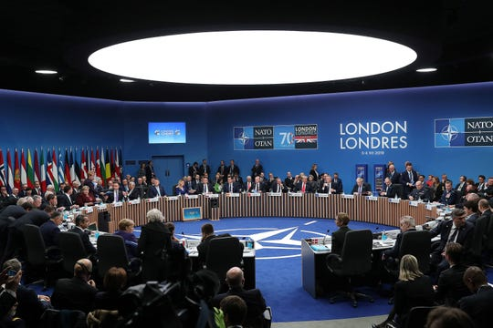 State leaders attend the plenary session for the NATO summit in Watford, northeast of London on December 4, 2019.
