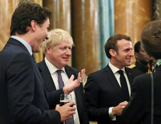 Canadian Prime Minister Justin Trudeau, Britain's Prime Minister Boris Johnson and French President Emmanuel Macron on Dec. 3, 2019.