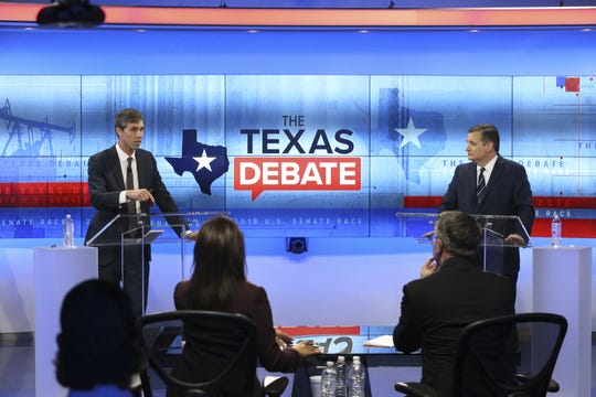 U.S. Rep. Beto O'Rourke (D-TX) (L) and U.S. Sen. Ted Cruz (R-TX) face off in a debate at the KENS 5 studios on Oct. 16, 2018 in San Antonio, Texas.